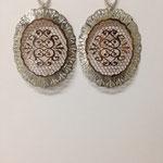Orecchini pendenti lastra argento bicolore