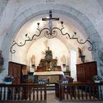 Rochefort - Poutre de gloire (tref) en fer forgé avec crucifix