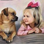 Hund mit Kind handgemalt