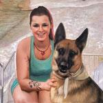 Hund und Mensch handgemalt