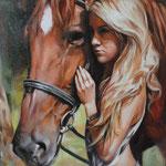 Mensch Pferd handgemalt