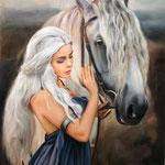 Mensch und Pferd handgemalt