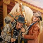 Menschen und Pferd handgemalt