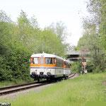 Das Einfahrsignal C der VPS-Strecke bildet das Motiv für die Rückfahrt des Sonderzuges nach Peine während der Vormittagsrunde