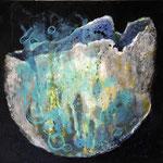 vase coquille bleu - t.m. - 30x30