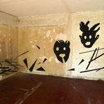 Geister vertreiben 2016,  Kartonschnitt, Raum 1, Gesamtansicht ca.  250 x 550 cm