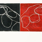 follow the line 2012/2013 Linoldruck schwarz/rot  30 x 80 cm