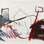 secrets of life 2001 - 2003 Wasserfarbe auf Transparentpapier, schwarzer Karton, Graphit auf Papier, 30 x 42 cm