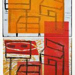 Construction (home) 2014, Holzschnitt/Linolschnitt von mehreren Platten