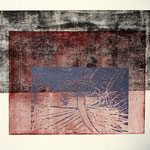places 2007, Holz- und Linolschnitt über Phototransfer, 64,5 x 69,5 cm