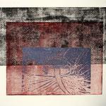 places 2017, Holz- und Linolschnitt über Phototransfer, 64,5 x 69,5 cm