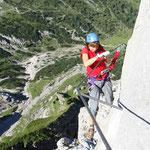 schwierige Stelle - steile Wand ohne Tritthilfe