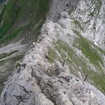 ca.1/2h dem Ausstieg ...  rechts Notabstieg zum Höhenweg