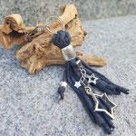 Anthrazit meliert geflochten mit Fotoanhänger