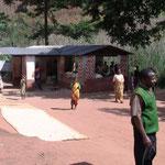 Trocknung von Mais vor der Mühle von Kindimba