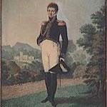Portrait d'un officier décoré de la légion d'honneur, dans un paysage - E. LUSSIGNY
