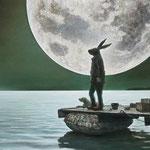 「two moons」油絵 原太一作品(部分)