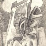Frau mit Harfe Spieler 1966