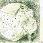 Kind mit Schaukelpferd