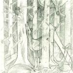 Toter Wald mit Hirsch