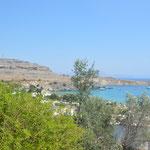 Vista dagli studios di Lindos, isola di Rodi