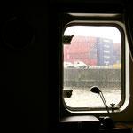 Ausblick aus einem Containerschiff                                               Foto: Schomberg