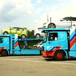 Autotransporter auf dem Speditionsgelände                                                                         Foto: Schomberg