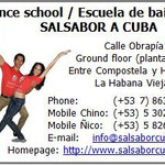 Business card of dance school 'Salsabor a Cuba'
