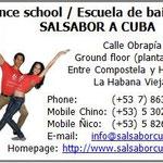 Visitenkarte der Tanzschule 'Salsabor a Cuba'