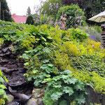 Falkensee: Wasserspeier AURORA oben am Beginn eines Baches im Hanggarten.