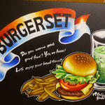 drawing 2015, Hamburger, chips and cold drink, hand lettering