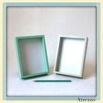 Marcos caja celeste y gris / REF: MAR-015 / 15 x 10 cms. / Arriendo: $ 2.000 c/u / Garantia: $ 10.000