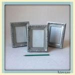 Marco barroco plata pequeño / REF: MAR-018 / 15x20 cms./ 3 unidades / Arriendo: $ 1.500 c/u / Garantía: $ 5.000