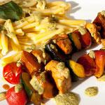 Brochettes ensoleillées au pesto pistache-menthe