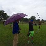 Anja beim Training im Regen.