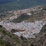 panoramic view of chaouen from mountain