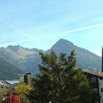 Blick vom Balkon auf das Nebelhorn (li) und das Rubihorn (re)