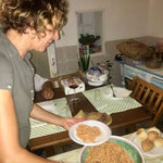 Stefania preparing typical sardinian dinner, Castelsardo