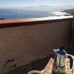 Coffee on the sunny terrace of our B&B, Castelsardo Sardinia