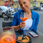 Aperol Spritz in front of Antica Pizzeria Da Michele in Naples