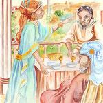 """illustration """"la bible racontée a mes petits enfants"""" : Esther"""