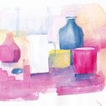 Gläser Flaschen pink