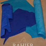 Veau Soft Bleu Turquoise et Taurillon Bleu Roi
