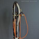 Paire de Rêne caoutchouc, avec Enrênnement type Howlett adaptable sur Collier de Chasse