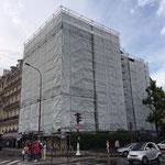 Mise en place des filets au droit des échafaudages de façades à Neuilly sur Seine (92)