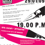 roma:lounge | readingevening and exhibiton |  flyerdesign by visob