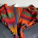Kleine Rüschen in rot / Kleine Rüschen, aus einem alten Landliebe-Heft, aus Regia-Sockenwolle 4-fach, Grösse ca. 220 x 45 cm