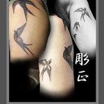 ツバメのタトゥー(5羽)