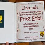 Ehrenurkunde für 35 Jahre Mitgliedschaft Fritz Erbl