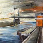 Rheinbrücke bei Duisburg 80 x 100 cm verkauft/sold  (als Klappkarte erhältlich)
